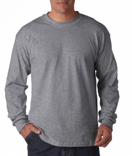 Construcción de algodón Gildan 5,3 G. Long-funda blanda de T-de manga corta de mujer gris (Sport Grey)