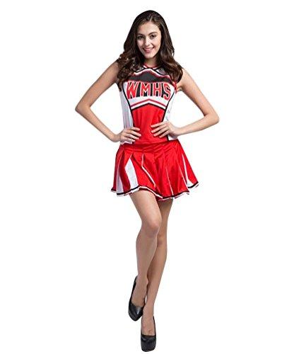 Baymate Damen Cheerleader Kostuem Uniform Mini Rock Glee Karneval Faschingkostuem Rot L