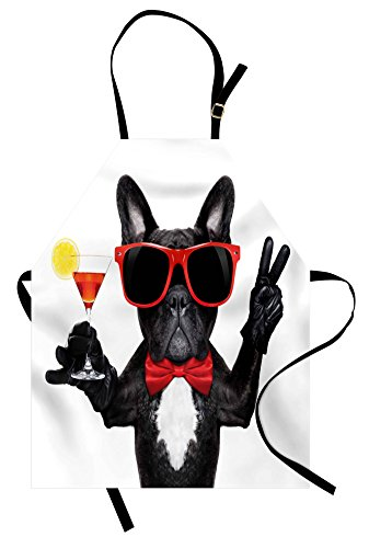 Bulldog Apron - Lunarable Funny Apron, French Bulldog Holding Martini Cocktail Ready for The Party Nightlife Joy Print, Unisex Kitchen Bib Apron with Adjustable Neck for Cooking Baking Gardening, Black Red