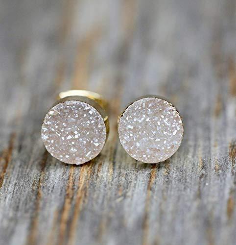 Beige Natural Druzy Quartz Gemstone Stud Earrings Real Drusy Quartz 8mm