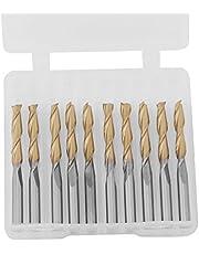 Carbide Engraving Cutter, Titanium Coated 2-Flute End Mill Set 10 Pcs Milliling Cutter 1/8inch Shank 3.175mm Cutting Edge Diameter