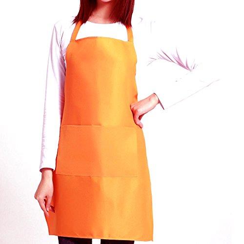 FoMann Unisex Kitchen Apron 6 PK Baking Chefs Apron with Pockets Butcher Craft Cooking BBQ Anti-Fouling Apron - Orange Apron Bbq