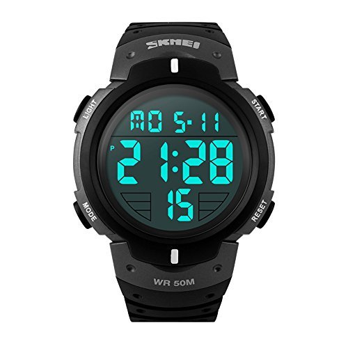 SKMEI Men's Sport Waterproof Rubber Strap Wrist Watch - Black 1068 - 3