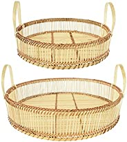 "Bloomingville Decorative 13.75"" & 17.75"" Round Bamboo Handles (Set of 2 Sizes"