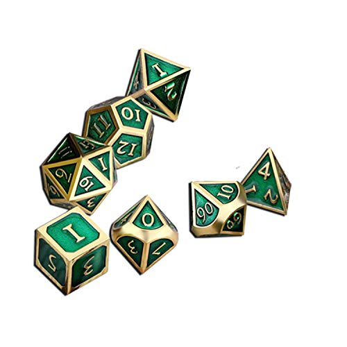 UONUOT 7pcs DND Metal Dice Set with Black Pouches D&D Polyhedral Dice for Dungeons and Dragons Role Playing Dice Games RPGs (Green with Gold Number)