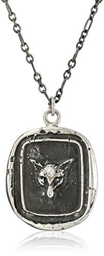 Pyrrha Talisman Sterling Silver Fox Head Diamond Set Necklace