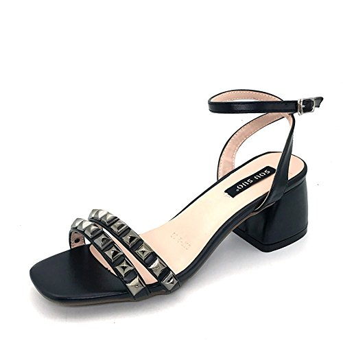 CHANCLAS SANDALS Sandalias de Mujer Confort Verano PU Talón Chunky Al Aire Libre Albaricoque Negro elegante ( Color : Negro , Tamaño : EU39/UK6/CN39 ) Negro