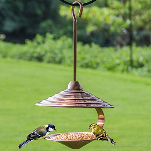 77A Outdoor Bird Bath Accent Decoration Electroplated Copper Hanging Bowls Bracket for Garden Yard Balcony