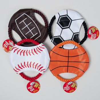 DOG TOY SPORTS DISC WITH ROPE 7.5 INCH IN PDQ, Case Pack of 60