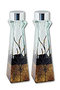 Glass Salt and Pepper Shakers Gold Copper Black Brown Set of 2