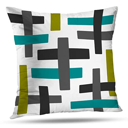 Pakaku Throw Pillows Covers for Couch/Bed 18 x 18 inch,Aqua Chartreuse and Grey Abstract Art Home Sofa Cushion Cover Pillowcase Gift Decorative Hidden Zipper Design Cotton and Polyester