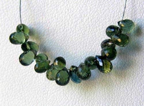 Deep Green Sapphire - 1 Bead of Deep Sage Green Sapphire 0.5 Caret Faceted Briolette for Jewelry Making 5186