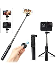 Innoo Tech Selfie Stick Tripod with Wireless Bluetooth Remote, 3 in 1 Extendable Monopod Mini Pocket Aluminum Selfie Stick Universal for iPhone XS Max XR X 8 8Plus Android 3.5-6 inch Smartphones