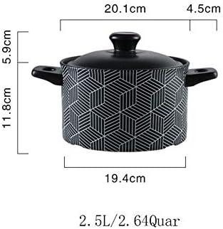 AMYZ Casserole en céramique avec Couvercle,marmite en Terre résistante à la Chaleur marmite coréenne Bibimbap marmite Saine Noir 2.64 Quart