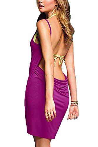 Elegante Pareo Cubierta Chalecos Vestido Playa para Mujer Sin Mangas V-Escote Túnica Swimwear Bikini Cover Up Verde del ejército Morado