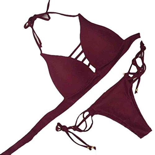 2017 Rcool Mujer Push-up Bikini Acolchado Bra Trajes De Baño Para Playa Vino