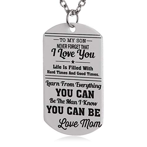 Marine Mom Pendant - FAYERXL to My Son Gift Ideas from Dad Mom Colorful Dog Tag Necklace Military Pendant Christmas Birthday Graduation Gift (My Son 5)
