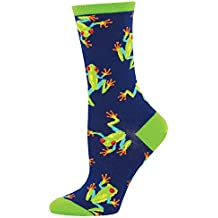 "Socksmith Womens' Novelty Crew Socks ""Tree Frogs"" - Navy, Sock size 9-11"
