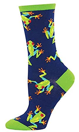 "Socksmith Womens' Novelty Crew Socks ""Tree Frogs"" - Navy"