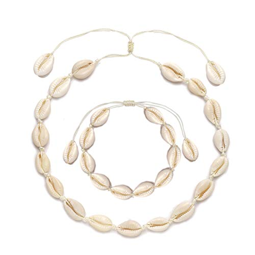 TIKCOOL Cowrie Shell Choker Necklace for Women Seashell Anklets Bracelets Set Cord Hemp Sea Shell Pendant Necklace Hawaiian Summer Beach Jewelry (Shell Anklets&Necklace #2)