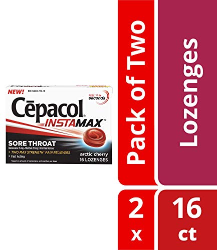 - Cepacol Instamax Sore Throat Lozenges, Arctic Cherry, Fast Acting, Max Strength Oral Pain Relief- Maximum Sore Throat, Mouth & Canker Sore Pain Relief with Benzocaine & Menthol, 16 Count (Pack of 2)