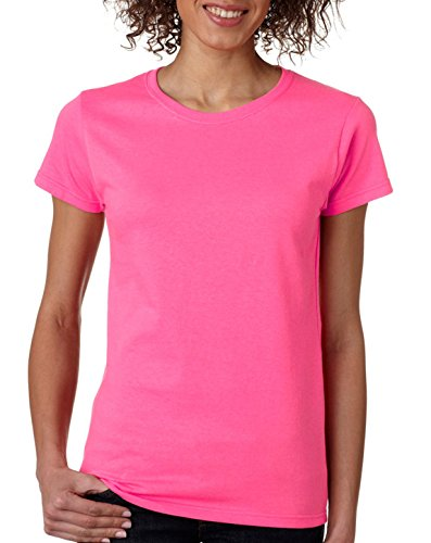 Gildan Women's Heavy Crewneck Cap Sleeve T-Shirt, X-Large, Safety Pink