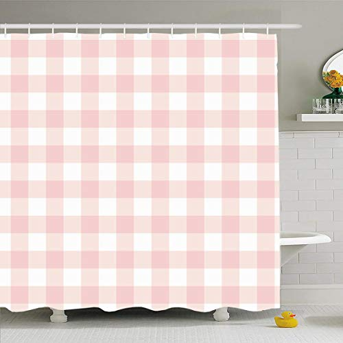 Ahawoso Shower Curtain 72x78 Inches Checker Red Pattern Pastel Pink Plaid Gingham Checkered Picnic Abstract Check Cute Color Design Waterproof Polyester Fabric Set with Hooks