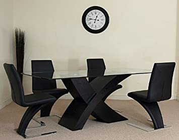 VALENCIA BLACK DINING TABLE 4 Z CHAIRS