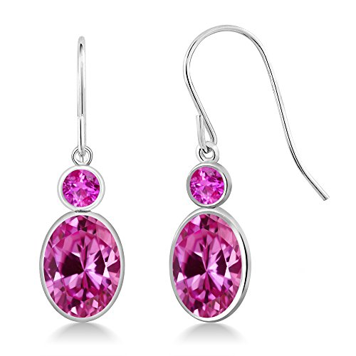 Gem Stone King 3.56 Ct Oval Pink Created Sapphire Pink Sapphire 14K White Gold Earrings