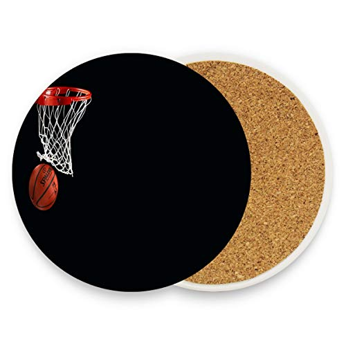 Coasters for Drinks,Basketball Black? Ceramic Round Cork Trivet Heat Resistant Hot Pads Table Cup Mat Coaster-Set of 2 ()
