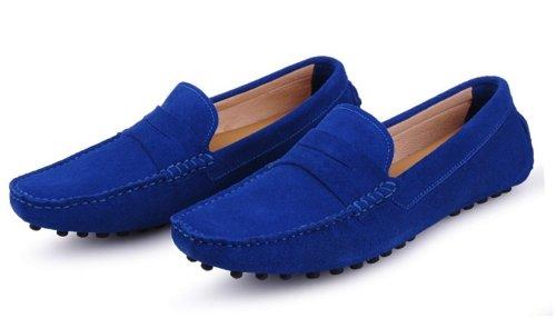 Happyshop (tm) Menns Semsket Skinn Moccasin Loafers Kjører Sko Komfort Slip-on Loafer Leiligheter Safir Blå