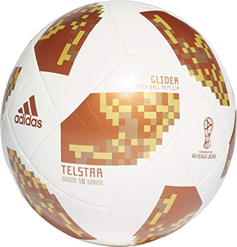 adidas Unisex Russia Telstar 2018 World Cup Glider Soccer Ball, White/Copper/Gold/Gold Metallic, Size 5
