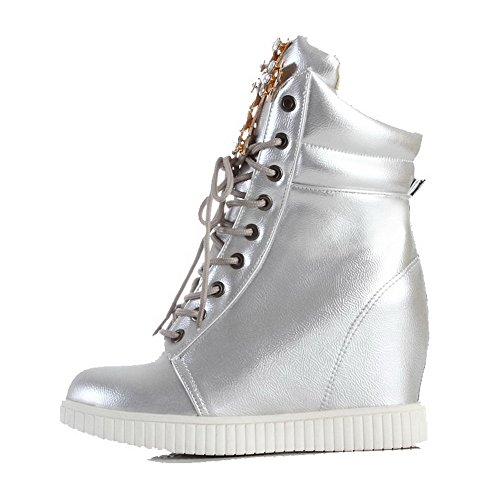 Silver High Closed PU up Boots Lace Round Low top AllhqFashion Heels Womens Toe xAYwgHU7q