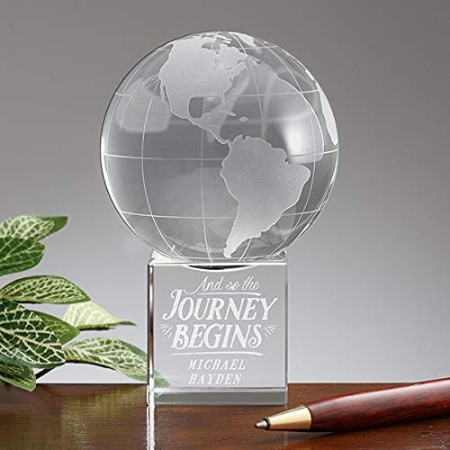 ZAMTAC Details About Personalized Premium Crystal Globe Award Paperweight Journey Begins Trophy