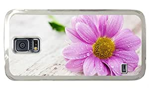 Hipster Samsung S5 Cases new pink wet flower hd PC Transparent for Samsung S5