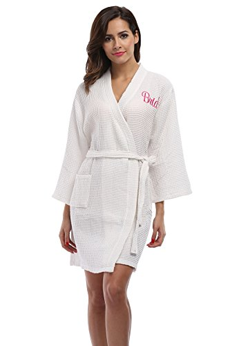 VogueBridal Waffle Weave Kimono Robe With Embroidered Bathrobe For Bride White One Size Fits Most