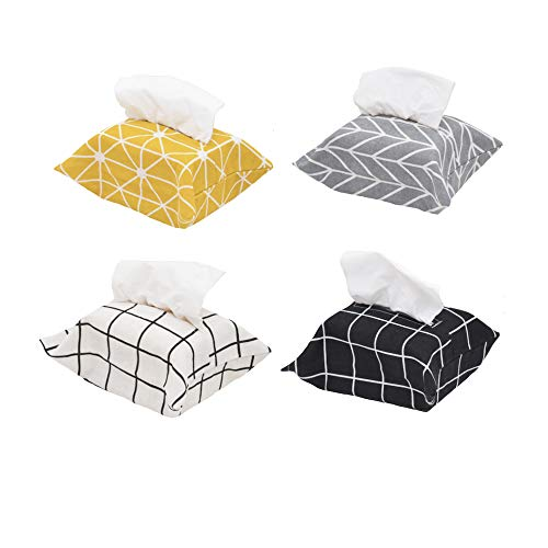 ALOVEA 4 Pack Polyester Cloth Tissue Box Cover Rectangle Tissue Box Holder for Home Office Car Automotive (White/Black/Yellow/Gray) (Rectangle Tissue Covers Box)