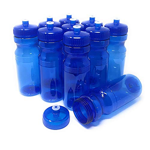Reusable Clear Screen - CSBD Blank 24 oz Sports and Fitness Water Bottles, BPA Free, PET Plastic, Made in USA, Bulk (Blue, 10 Pack)