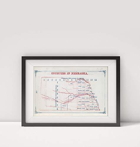 - 1866 Map of |Nebraska Counties|Title: Nebraska Counties. (to accompany) Larrance's Post Office Chart