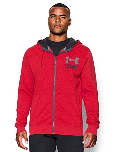 Under Armour Men's Tri-Blend Fleece Hoodie, Red/Asphalt Heather, Small