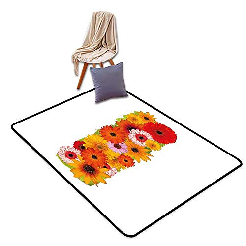 Door Rug Area Rug Letter I Uppercase I with Floral Effects Vibrant Inspiring Soft Happines Bunch of Florets W55 xL79 Suitable for Restaurants,Family Rooms,corridors,foyers.