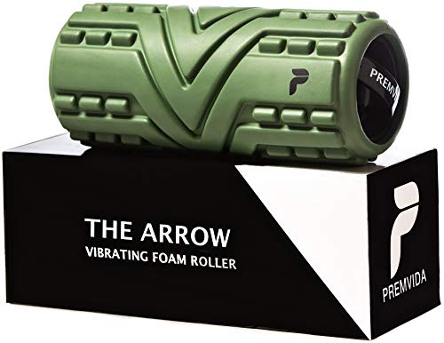 Premvida Vibrating Foam Roller 3-Speed Electric Trigger Point Muscle Recovery Roll for Yoga, Deep Tissue Sports Massage, High Density, Intensity Back Massage for Pain and Myofascial Release