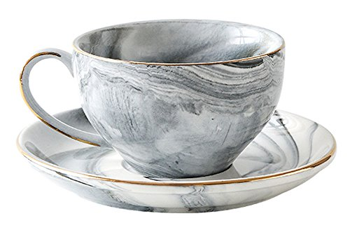 FUYU Simple Gold Edge Marble Ceramic Coffee Cup and Saucer Set Tea Cup with Saucer Espresso Cups and Saucers Set