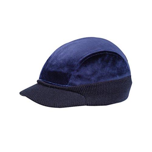 Velour Vintage Hat - Vintage Year Velour 4 Panel Knitted Warmer Flap Billed newsboy Cap (Navy)