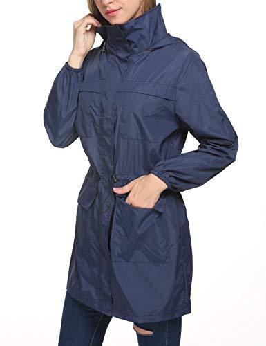 Zhenwei Cappuccio Lunga Impermeabile S Navy1 Blu Giacca xxl Donna Con Unx6CUw