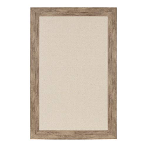 DesignOvation Beatrice Framed Oversized Linen Fabric Pinboard, 29.5x45.5, Rustic Brown