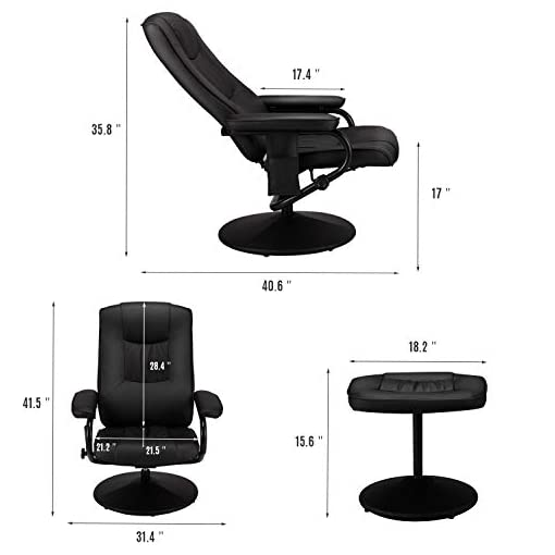 Living Room Esright Recliner Chair and Ottoman, 360 Degrees Swivel Ergonomic Faux Leather Lounge Recliner with Footrest, Vibration…