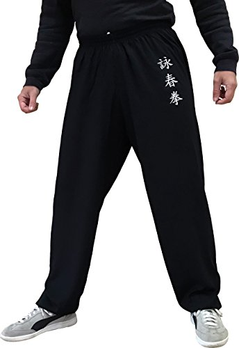 Wing Chun Kung Fu Pants for Women and Men Martial Arts Trousers Light and Smooth (Black Size L)