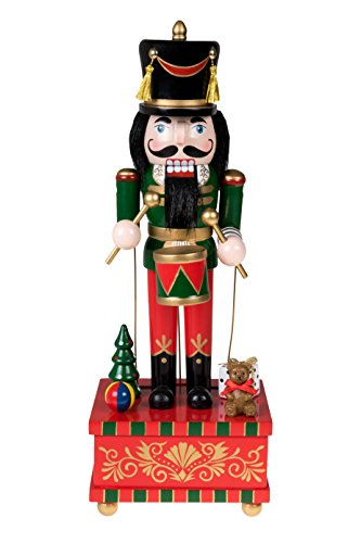 (Clever Creations Classic Drummer Nutcracker Music Box Green, Gold, and Red Uniform with Snare Drum | Festive Collectible Nutcracker | Perfect for Any Decor Theme | 100% Wood | 12.75