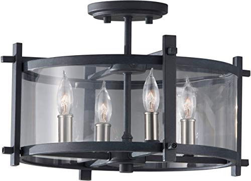 """Feiss SF292AF/BS Ethan Glass Semi Flush Ceiling Lighting, Iron, 4-Light (16""""Dia x 11""""H) 240watts from Feiss"""